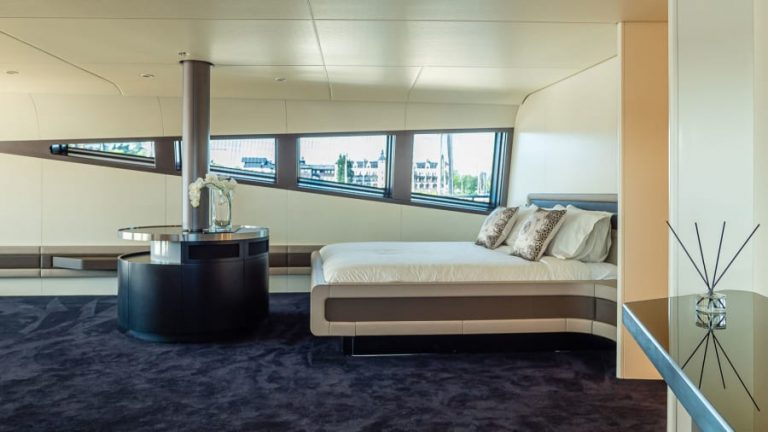 Modern interior: The futuristic vessel has one master cabin and four guest cabins, which can accommodate up to 10 guests.