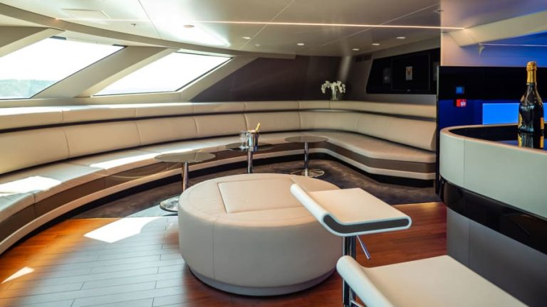 Luxury cruising: The inside features a lot of white and blue, as well as metallic and wood surfaces.